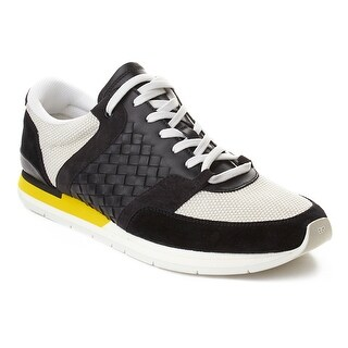 Bottega Veneta Men's Intrecciato Leather Sneaker Trainer Shoes Black Yellow