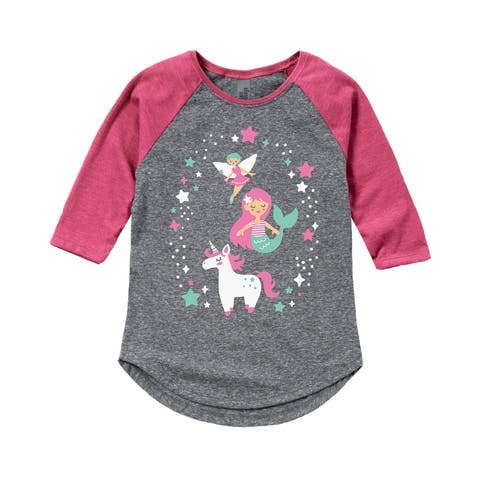 Stacked Mythical Creatures - Toddler Shirt Tail Raglan - Athletic/Fuchsia