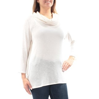 Womens Ivory 3/4 Sleeve Cowl Neck Casual Top Size L