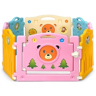 Costway 8 Panel Kids Baby Playpen Activity Center Safety Play Yard Home Indoor Outdoor - Multi-Color