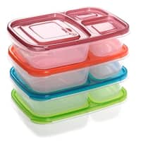 Costway 4 x Quick Lunch Boxes 3-compartment Bento Lunch Box Containers Classic Set of 4 - as pic