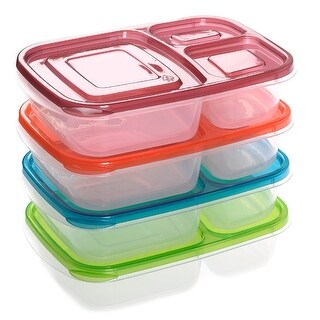 Costway 4 x Quick Lunch Boxes 3-compartment Bento Lunch Box Containers Classic Set of 4