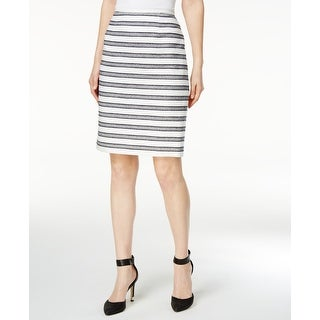 Calvin Klein NEW Blue Women's 14P Petite Striped Straight Pencil Skirt