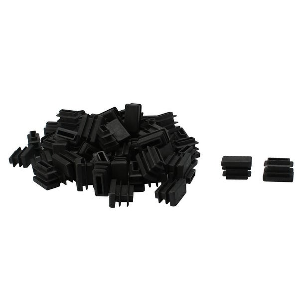 70pcs 10 x 20mm Plastic Rectangle Ribbed Tube Inserts End Cover Cap Furniture Glide Table Feet Floor Protector