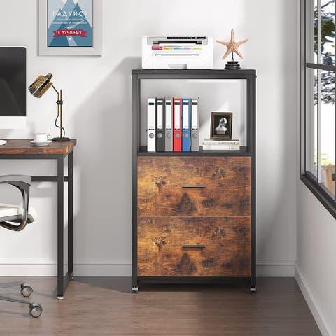 2 Drawer Mobile File Cabinet for Legal Size, Modern Vertical Filling Cabinet with Storage Shelves