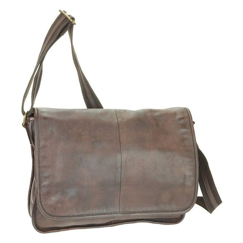 CTM® Men's Leather Messenger Bag - one size
