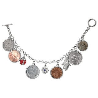 "Women's Lucky Coins 8"" Metal Charm Chain Bracelet"