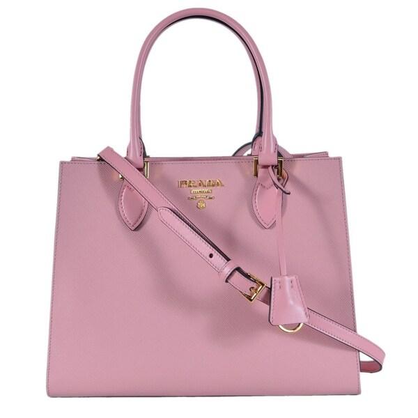 Prada 1BA118 Petalo Pink Saffiano Leather Lux Convertible Purse Handbag Tote e06ad74be78af
