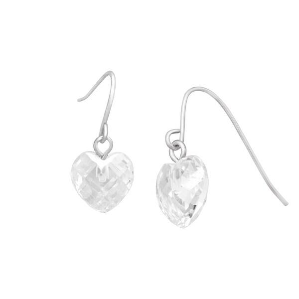 Cubic Zirconia Heart Drop Earrings in 10K White Gold