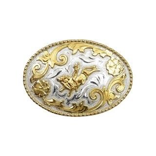 """Silver Strike Western Belt Buckle Boy Girl Bullrider Silver Gold BK350 - 3 3/8"""" x 2 1/4"""""""