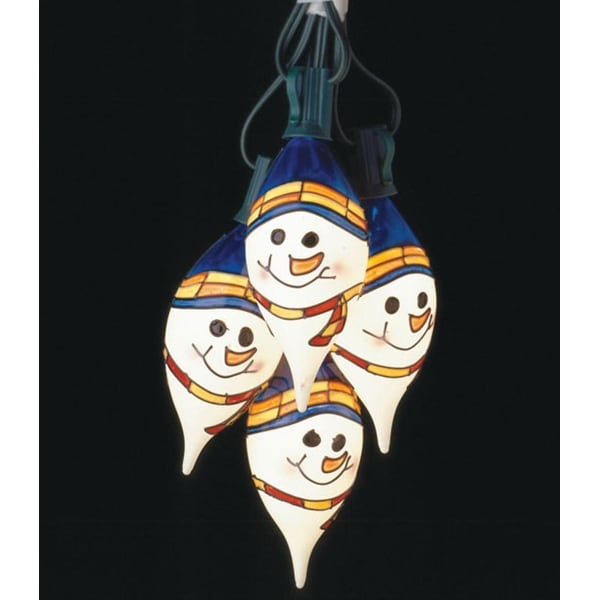 Set of 7 Commercial Grade Snowman Face Christmas Lights Green Wire #726122 - WHITE