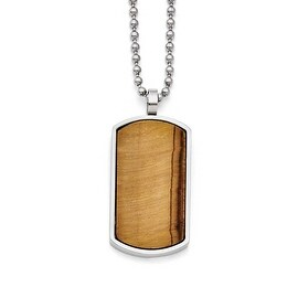 Chisel Stainless Steel Tiger's Eye Dogtag Pendant Necklace (3 mm) - 22 in