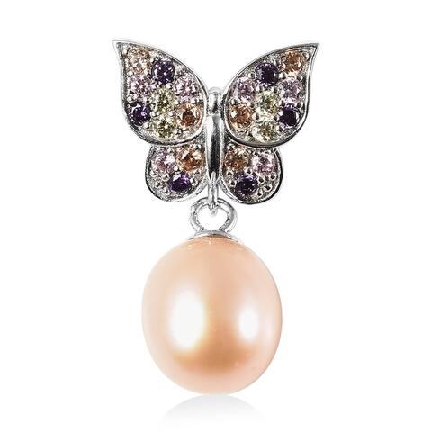 925 Silver Rhodium Over Fresh Water Pearl Cubic Zirconia Pendant