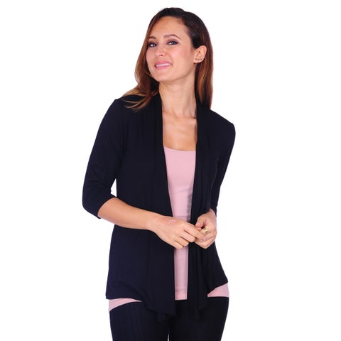 Women's Basic 3/4 Sleeve Draped Open Front Cardigan (Size: S-3X)