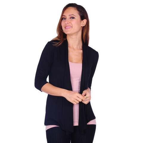 Women's Basic 3/4 Sleeve Draped Open Front Cardigan (Size: S-3X)
