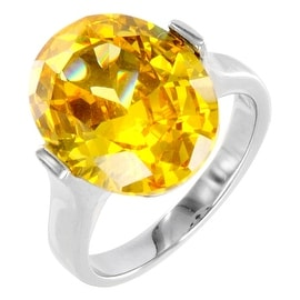 Stainless Steel Women's Yellow CZ Ring - Size 6