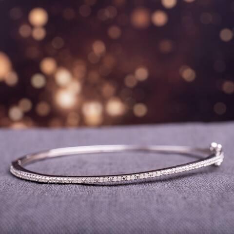 Miadora Sterling Silver 1/4ct TDW Diamond Bangle Bracelet - White