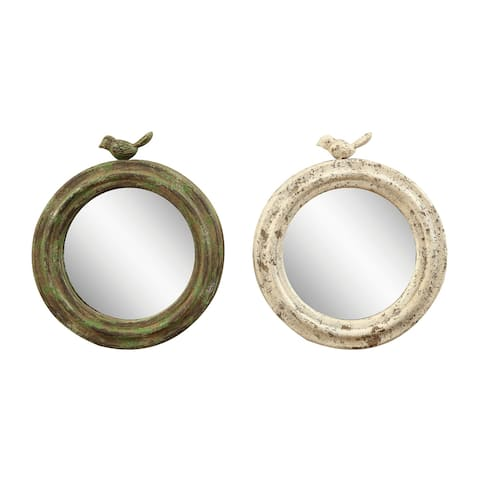 Distressed Round Metal Framed Mirrors with Birds (Set of 2 Colors)