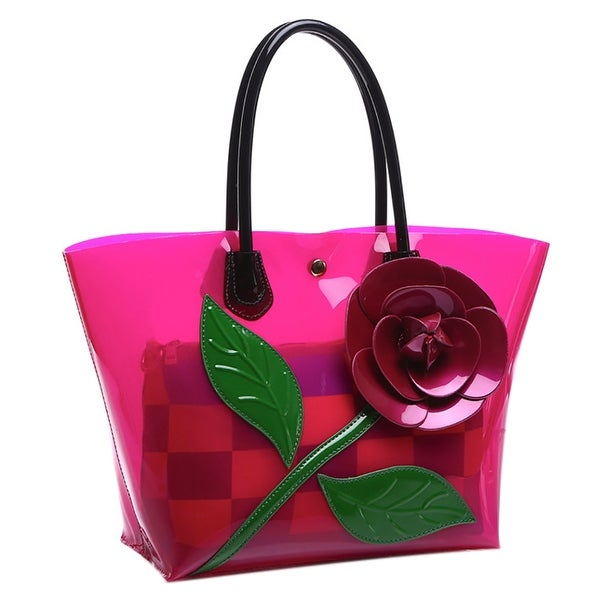 1573db558dc5 QZUnique Women  x27 s Rose Flower PU Leather Tote Bags Handbag Shoulder Bags  Bucket