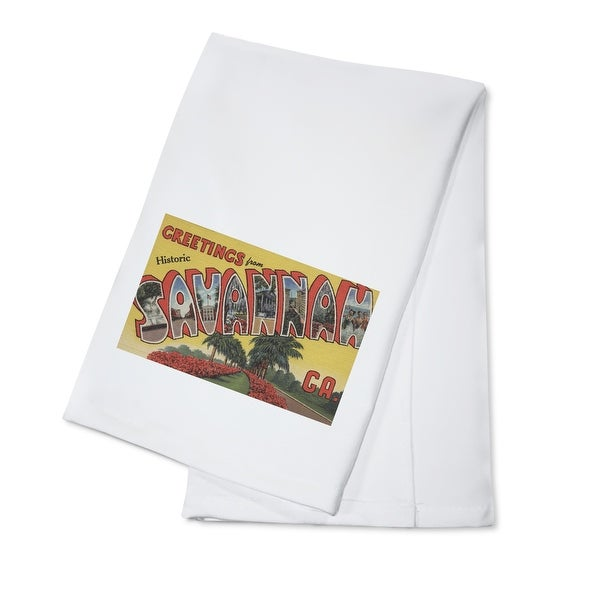 Greetings Historic Savannah GA - Vintage Halftone (100% Cotton Towel Absorbent)