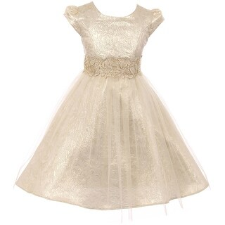 Cap Sleeve Tulle Floral Waist Flower Girl Dress USA Gold JKS 2100 (More options available)