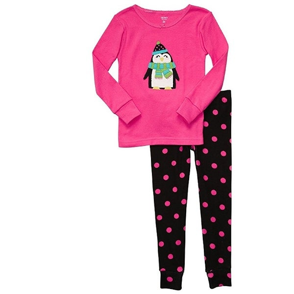 Carter's Baby Girls' 2 Piece Penguin Pink and Black Polka NB-9M