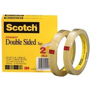 Scotch 665 Double-Sided Tape, 0.50 x 1296 Inches, Clear, Pack of 2