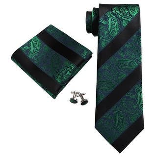 Men's Black And Green Paisley 100% Silk Neck Tie Set 18E14 https://ak1.ostkcdn.com/images/products/is/images/direct/46ae8738b8d855d7346a924fb7041297491d98d9/Men%27s-Black-And-Green-Paisley-100%25-Silk-Neck-Tie-Set-18E14.jpg?impolicy=medium