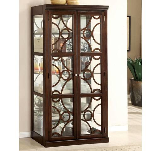 Furniture of America Cins Contemporary Walnut 6-shelf Curio Cabinet