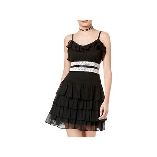 Disney Beauty and the Beast Womens Juniors Party Dress Ruffled Crochet Trim - M