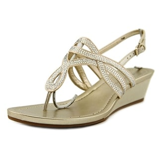 Bandolino Brisa Women Open Toe Canvas Gold Wedge Sandal