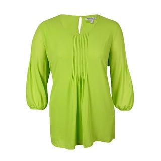 Modamix Women's Pintucked 3/4 Sleeves Crepe Top - Lime