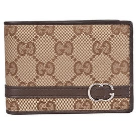NEW Gucci Men's 268508 Beige Canvas GG Guccissima Bifold Wallet