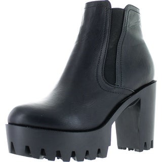 Refresh Fabia-01 Women's Elastic Side Zip Lug Sole Platform Chunky Ankle Boots - Black