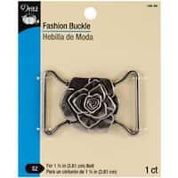 """Antique Silver - Rose Design - Fashion Buckle For 1-1/2"""" Wide Belt"""