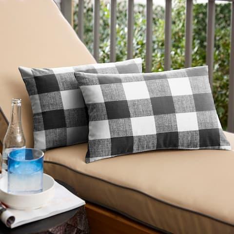 Humble + Haute Black Buffalo Plaid Indoor/ Outdoor Lumbar Pillow, Set of 2