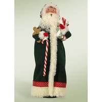 """13"""" Decorative Green Santa Claus with Candy Cane Christmas Table Top Figure"""