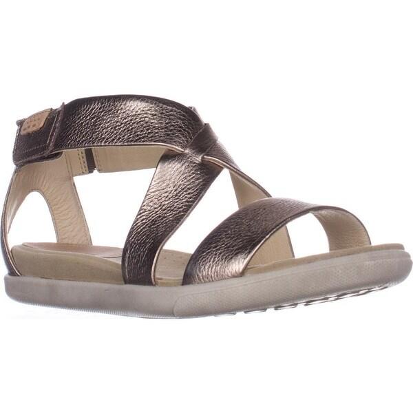 ECCO Damara Flat Comfort Sandals, Warm Grey Metallic