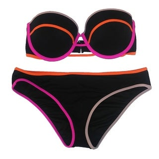 Victoria's Secret 2PC Swimsuit Bikini Set Flirt Bandeau Colored Stripes