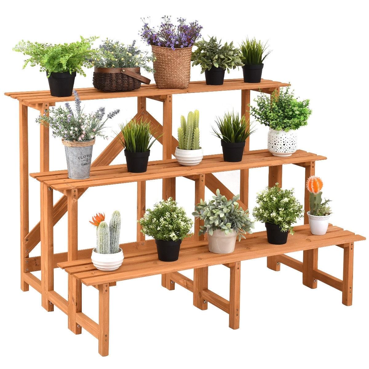 Costway 3 Tier Wide Wood Plant Stand Flower Pot Holder Display Rack Overstock 28107956