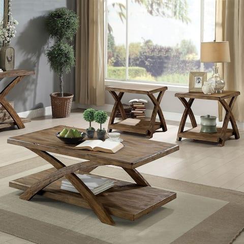 Furniture of America Vown Rustic Light Oak 3-piece Coffee Table Set