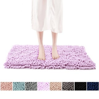 FRESHMINT Chenille Bath Rug with Non-Slip Backing ( 8 Color Options )