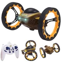Costway 2.4GHz 4CH RC Bounce Car Remote Control Jumping Stunter 360 degree Spin Kids Gift - Yellow