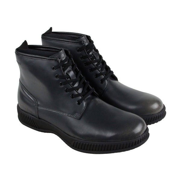 Calvin Klein Hut Mens Gray Leather Casual Dress Lace Up Boots Shoes