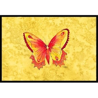 Carolines Treasures 8857MAT Butterfly on Yellow Indoor Or Outdoor Doormat - 18 x 27 in.