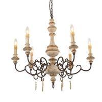 6 light wood vintage chandelier
