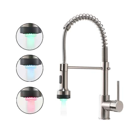 Single Handle Pull-down Brushed Kitchen Faucet - 6.8*4.7*17.1