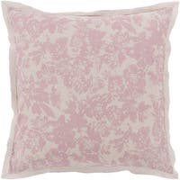 Dusty Rose Pink and Cool Gray Blossom Dreams Linen Decorative Euro Sham
