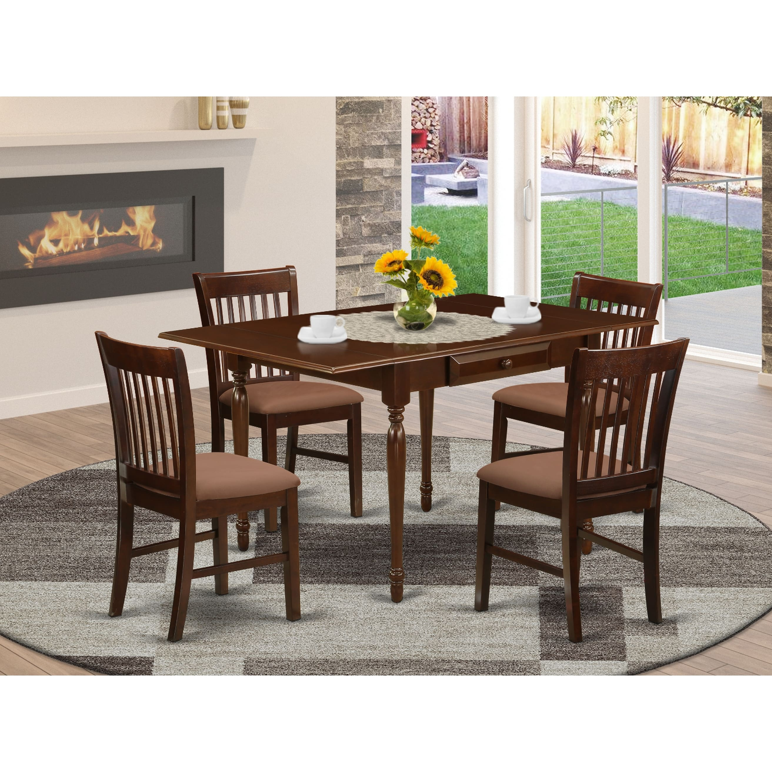 Solid Wood Dining Table And Chocolate Linen Fabric Upholstery Seat Kitchen Dining Chairs Number Of Chairs Option On Sale Overstock 32448377