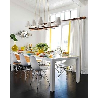 2xhome White- Eames Style Molded Bedroom & Dining Room Side Ray Chair with Eiffel Metal Leg Base